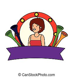 beautiful circus woman with trumpets in emblem
