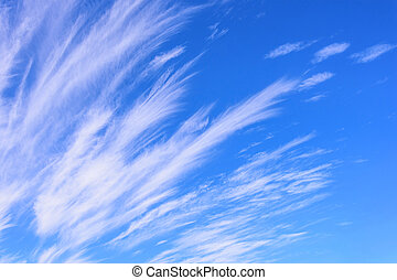 Beautiful cirrus clouds against the blue sky, Sky background.