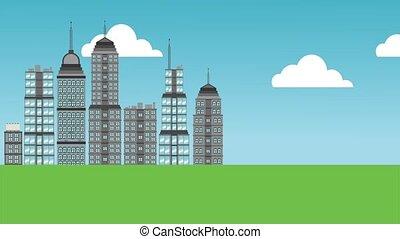 Beautiful city cartoon HD animation - Cityscape on sunny day...