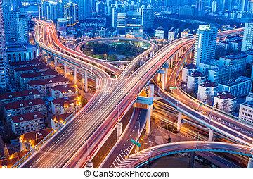 beautiful city interchange closeup in shanghai