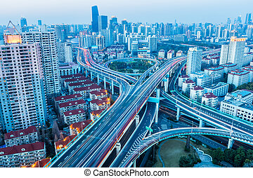beautiful city interchange in nightfall
