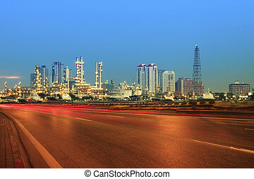 beautiful city scape of road and land transportaiton against...