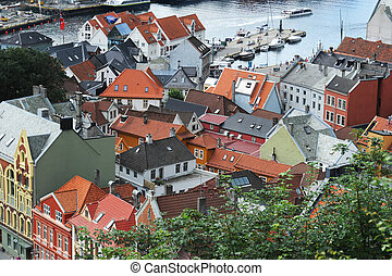 Bergen - beautiful city view of Bergen, Norway