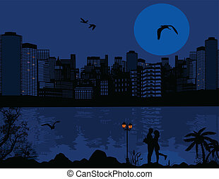 Beautiful cityscape and couple silhouette background