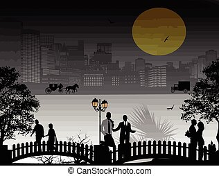 Beautiful cityscape and people silhouette