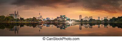 Beautiful cityscape of Kuala Lumpur skyline at night,...