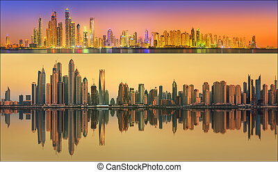 Beautiful cityscape set and collage of Dubai, UAE