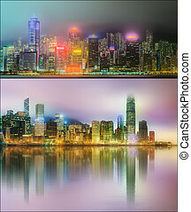 Beautiful cityscape set and collage of Financial district,...
