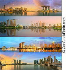Beautiful cityscape set and collage of Marina Bay, Singapore...