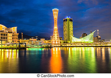 Beautiful cityscape with architecture building and kobe tower city skyline