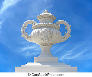 Beautiful classic garden flower pot wase isolated on blue sky background