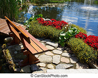 Beautiful classical design garden fish pond with water lily