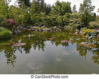 Beautiful classical garden fish lake pond