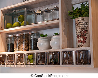 Beautiful classical country style kitchen shelves and spices rack