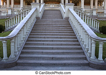 beautiful classical mansion staircase in the park - wide...