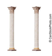 beautiful classical marble columns isolated on white background