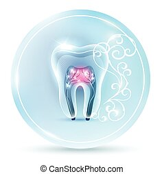 Beautiful clean artistic tooth anatomy icon