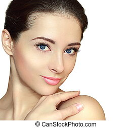 Beautiful clean face woman looking with smile. Closeup isolated portrait