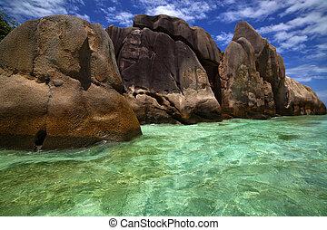 Beautiful clear blue green water among shore rocks