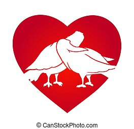 Beautiful clip art with doves in the red heart