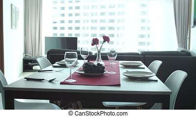 Beautiful clip of serving banquet in modern apartment by the...