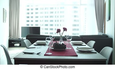 Beautiful clip of serving banquet in modern apartment in...