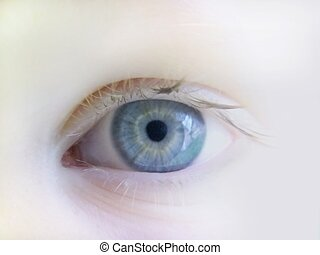 Beautiful close-up of a child's eye in soft focus.