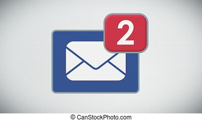 Beautiful Close-up of E-mail Inbox with Messages. Many Letters Appearing in the Mailbox. 3d Animation. Front view. Business and Technology Concept. 4k Ultra HD 3840x2160.