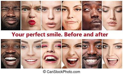 Beautiful close up portraits, concept of teeth treatment