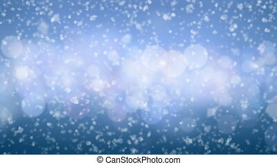 Beautiful Close-up Snowflakes Falling Slow Seamless with DOF...