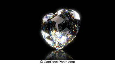 Beautiful closeup of diamond heart on black background for celebration design. Animation illustration. 3d animation.