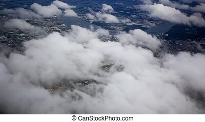 Beautiful cloud sky view from aeroplane window. HD....