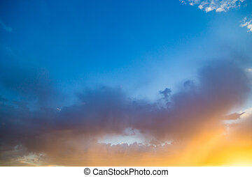Beautiful clouds in the sky at sunset