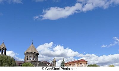 Beautiful Clouds over an Old Church