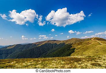 beautiful clouds over mountain ridge - beautiful clouds on a...