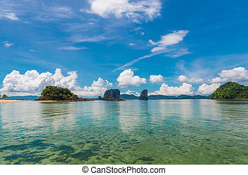 beautiful clouds over the calm sea bay in the Andaman Sea of Thailand