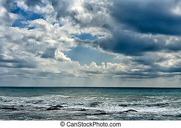 Caspian Sea. - Beautiful clouds over the Caspian Sea.