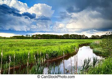 beautiful blue cloudscape over wild river