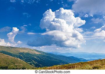 Beautiful cloudscape view in Carpathian mountains.