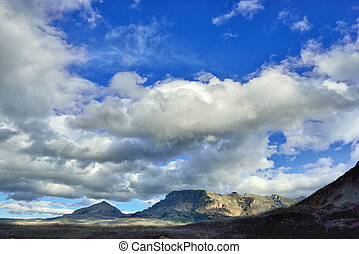 beautiful cloudy blue sky above mountains