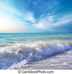 Beautiful coast of beach at day. Nature composition. - ...