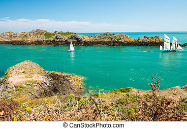 Beautiful coast of Brittany, France. Bretagne ocean between Canc