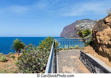 Beautiful coast of Madeira with hiking trail