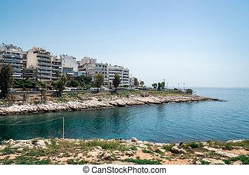 Beautiful coast of Mediterranean sea at Piraeus, Greece
