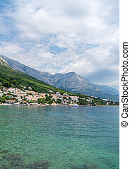 Beautiful coast of the resort town of Brela in Croatia.