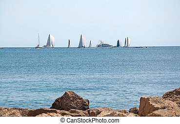 Beautiful coastal landscape with sailing regatta