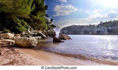 beautiful coastline and crystal blue sea, menorca, Balearic...