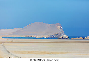 Beautiful coastline landscapes in Paracas National Reserve, Ica Region, Pacific coast of Peru.