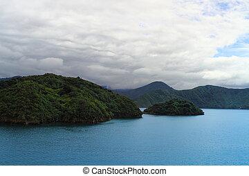 Beautiful coastline of Marlborough Sounds, New Zealand