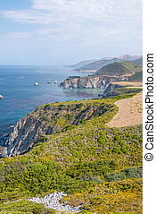 Beautiful coastline road of Big Sur, California, USA. Aerial...